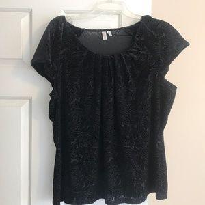 Madison black, cap sleeve, burnout top, 2X